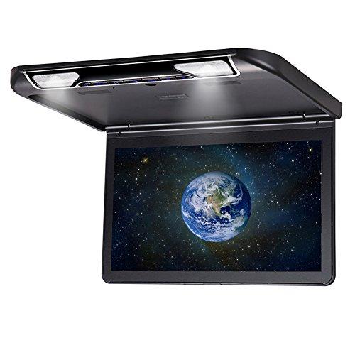 DDAUTO DD1336M Ultra Mince Overhead MP5 Player 1080P HD IPS Screen Flip Down Moniteur pour Voiture avec Télécommande Double Dome LED Lights Supporte USB SD HDMI 13,3 Pouces Noir