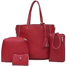 6eef17ddc536d Majome 4pcs conjunto Crossbody hombro compuesto bolsa bolso cartera borla  PU para mujer señora