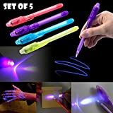 Party Propz 5 Pack Invisible Ink Pen with UV Light, Magic Marker Spy Pens for Kids Toy Best Gift (Multi)