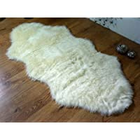 Rugs Supermarket Cream ivory faux fur double sheepskin style rug 70 x 140 cm