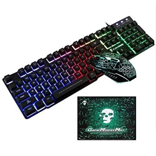 WENZHEN USB Wired Backlit Gaming Keyboard Maus- und Pad-Kit 3tlg, Schwarz