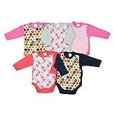 TupTam Unisex Baby Langarm Wickelbody Baumwolle 5er Set, Farbe: Mädchen, Größe: 62