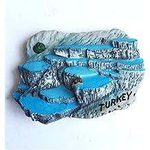 Turquía Pamukkale - Imanes para nevera pintados a mano en 3D de alta gama, recuerdos de viaje, pegatina magnética para nevera