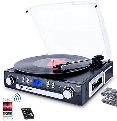 DIGITNOW! Tourne-Disque Bluetooth, Platine Vinyle 33/45/78 tr/min avec haut-parleurs intégrés, encodage du vinyle au MP3, encodage SD/USB, radio, cassette, entrée auxiliaire par BR