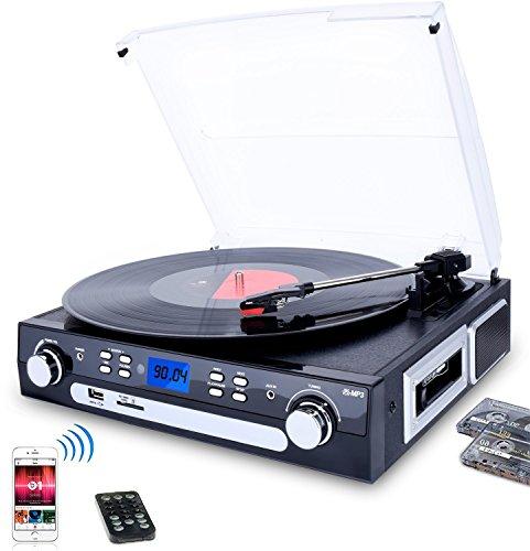 DIGITNOW! Bluetooth LP Platine Vinyle Convertisseur, 33/45/78 RPM avec Haut-parleurs Intégrés, Tourne-disque à MP3 Codage, Codage SD/USB, Radio,cassette, Aux in