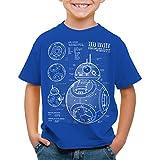 A.N.T. BB Unit T-Shirt für Kinder blaupause astromech droide, Farbe:BlauGröße:152