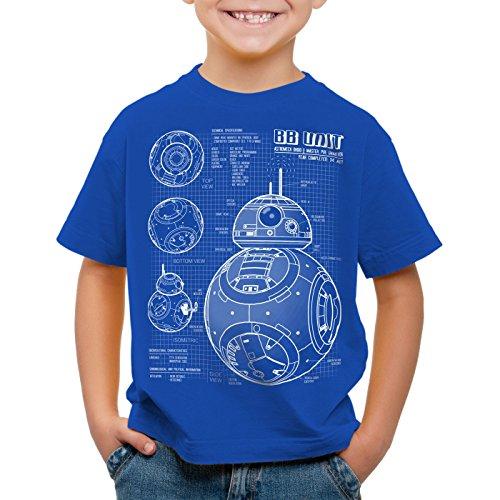 A.N.T. BB Unit T-Shirt für Kinder blaupause astromech droide, Farbe:Blau;Größe:116