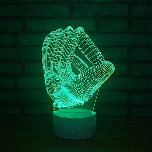 USB-Stromversorgung Dekorativ Baseball-Handschuh 3D Touch optische ILLusion Nachtlicht Crackle Paint Base 7 Farben neben Tabelle Schreibtisch Deco Lampe Schlafzimmer Nachtlicht Tragbare Schlaflicht Kinder Geschenke