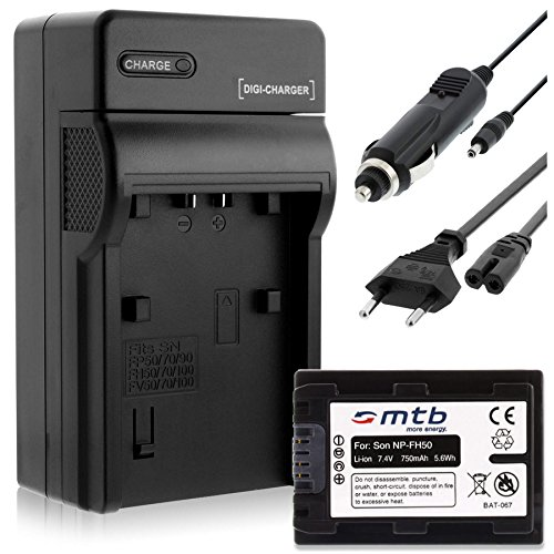 Batteria + Caricabatteria (Auto/Corrente) per Sony NP-FH50/FP-50 / DSC-HX1, HX100V, HX200V / Alpha. - vedi lista!