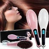 Nueve magia eléctrico Alisador de pelo iónico Stylisation Cepillo de masaje Peine con pantalla LCD, color rosa