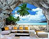 REAGONE Papel Tapiz Personalizado Pared Cueva Muro De Piedra Playa Vista Al Mar Estéreo Tv Grande Sofá Fondo Fotomural Foto Papel Tapiz 3D, 400X280 Cm (157.5 Por 110.2 Pulg.)