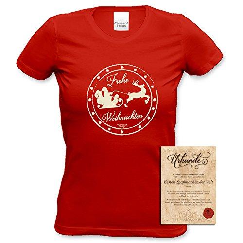 Weihnachts-Geschenke-Girlie-Fun-Tshirt für Damen mit Urkunde Motiv: Frohe Weihnachten Farbe: rot Rot