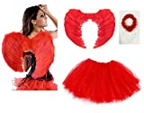 Ladies ANIMAL FANCY DRESS TUTU with EARS BOW TAIL SET for Halloween, Hen Party Fancy Outfit Tutu Skirt by Lizzy® (Devil Wings Halo Tutu Costume - Red)
