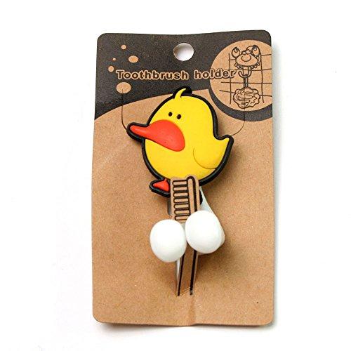 Zahnbürstenhalter für Kinder mit Motiv Ente, aus Kunststoff mit Saugnapf (weiß)