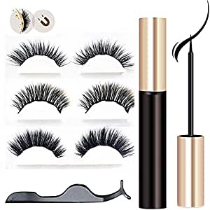 Magnetic Eyelash and Magnetic Eyeliner Kit[ 2020 Newest], Magnetic Eyeliner with 3D Reusable False Magnetic Lashes and Tweezers, No Glue & 5 Magnets Waterproof Magnetic Eyelashes for Natural Look