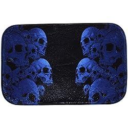 iHome Felpudo Halloween, Coral Terciopelo, 40cm x 60cm, Doble Calavera Cráneo Cúmulos (Negro Azul)
