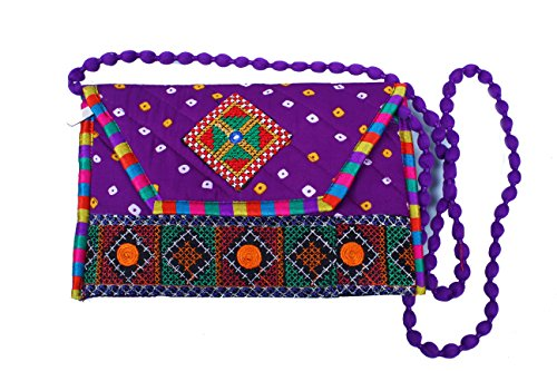 Para Ladies Traditional Bandhani Embroidery Work Sling Bag, Purple  available at amazon for Rs.199