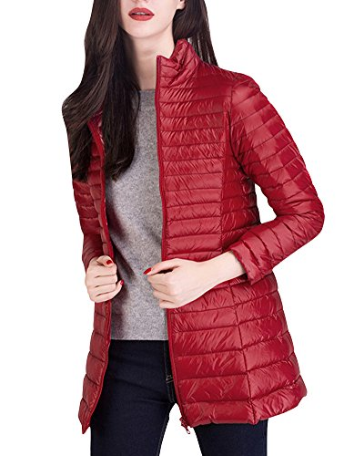Donna Giacche Lunga Packable Palla Cappotto Ultraleggeri Trapuntato Inverno Piumino Giacca Rosso
