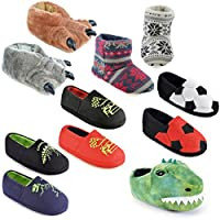 Kids Boys Slippers Boots Bootie Plush Animal Monster Novelty Warm Fluffy Gift