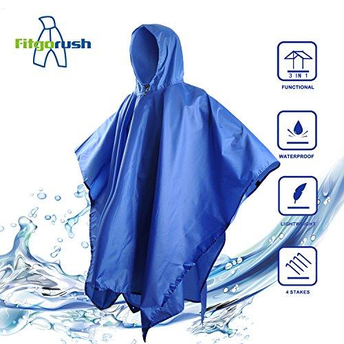 Fitgorush Poncho de Lluvia Impermeable Chubasquero Multi funcional Manta Sombrilla Tela 210T...
