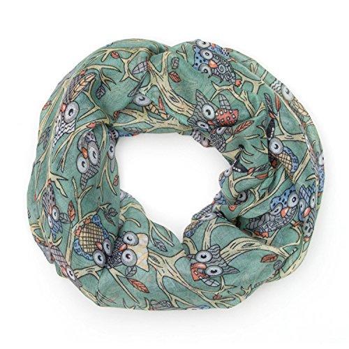 MANUMAR Loop-Schal für Damen | Hals-Tuch in grau mit Eulen Motiv als perfektes Herbst Winter Accessoire | Schlauchschal | Damen-Schal | Rundschal | Geschenkidee für Frauen und Mädchen