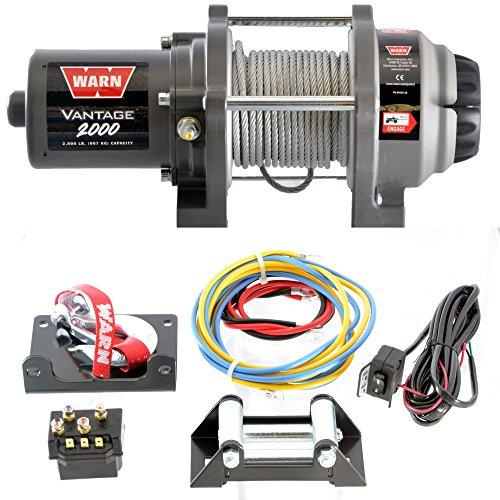 WARN 12V Elektrische Seilwinde 2000 Vantage | Zugkraft 907kg | Stahlseil | Montageplatte | Ideal für FORST,ANHÄNGER,OFFROAD,BOOT,JÄGER,TRAILER,QUAD,ATV,SxS,UTV