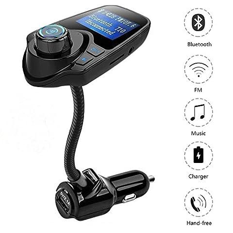 Transmetteur FM de Voiture Lecteur MP3, Allume Cigare Bluetooth kit Main Libre, Port USB 5V / 2.1A, Port Carte Micro SD