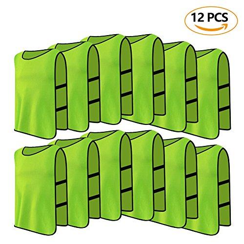 12 er Set Erwachsene Trainingsleibchen Markierungshemd Trainingsweste für Fußball Volleyball Basketball ( Farbe : Grün )