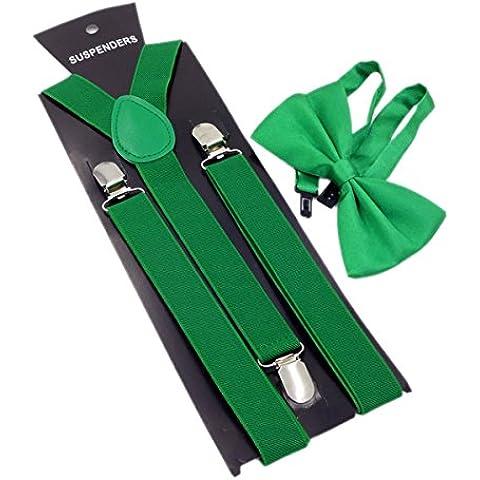 Panegy (Conjunto/2 Piezas) Pajarita con Tirantes Elásticos (2.5cm) 'Forma Y' de 3 Pinzas Accesorios en Color Sólido para Hombres Mujeres Adultos - Negro/Amarillo/Verde/Morado/Rojo/Azul a