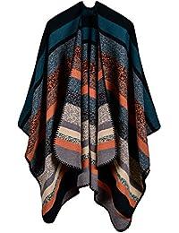 ee43ed6144bf6c Poncho Damen Winter Kaschmir Elegant Ohne Ärmel Vintage Hippie Buntes Capes  Gestreiftes Fashion Ponchos Casual Warm Oversized…
