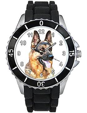Schäferhund Motiv Uhr Unisex mit Silikonband