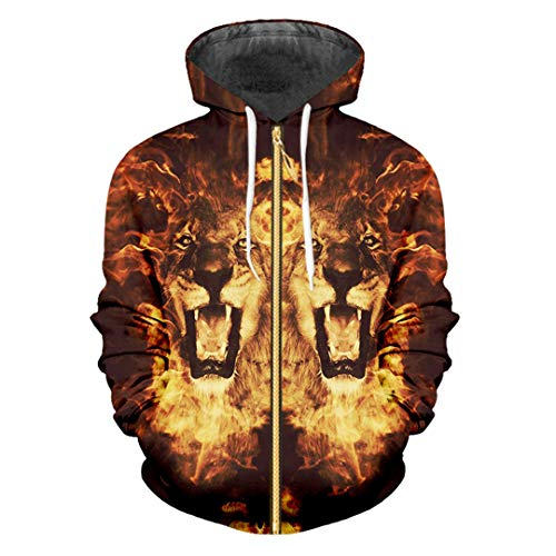 Grafik-jacquard-jacke (TN-KENSLY Harajuku Cool Flame Lion König gedruckt 3D Hoodies Hiphop Zipper Jacke Flame Lion King M)