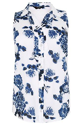 Yours Clothing - Chemisier - À Fleurs - Sans Manche - Femme Bleu