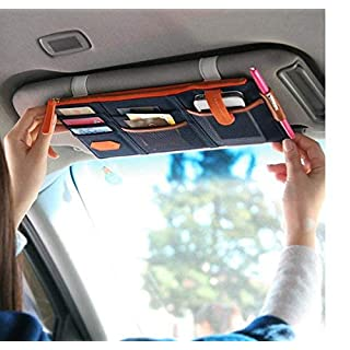 Lvcky Multi-purpose Auto Car Sun Visor Organizer Pouch Bag Card Storage Pen Holder Blue