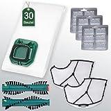 30 Staubsaugerbeutel / Filtertüten Sparset mit Bürsten passend für Vorwerk Kobold VK 140 und VK 150 mit Vorwerk Elektrobürste EB 360