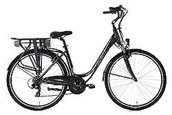 Adore Damen Alu City Pedelec Versailles E-Bike 250 Watt Li-Ion 36V/10, 4 Ah 7 Gänge Fahrrad, schwarz-Grün, 28 Zoll