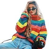 neuda Damen Pullover Langarm Rollkragenpullover Gestreiften Strickpullover Puli Oberteile Sweatshirt (One Size, Rainbow)