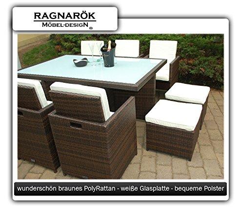 Gartenmöbel PolyRattan Essgruppe Tisch mit 6 Stühlen & 4 Hocker - 7