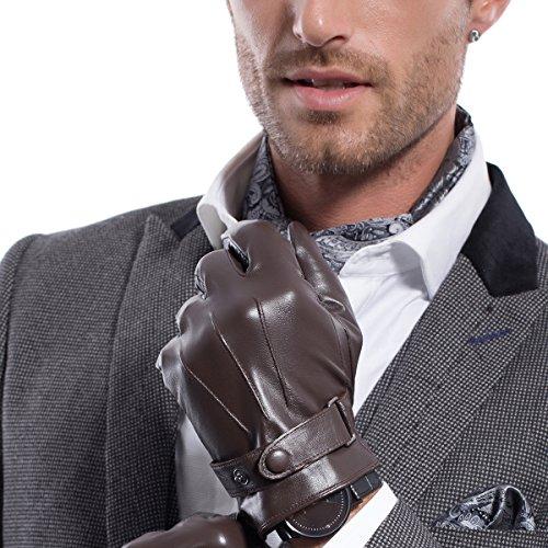 Herren MATSU M2011 Winter-Lammfell-Handschuhe, Super Warm, Leder, Brown-TouchScreen