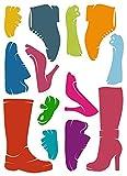 Unbekannt 14 tlg. Set XL Wandsticker Schuhe Wandtattoo Stiefel Pumps High Heels Schuh Aufkleber Wandaufkleber - selbstklebend für Wohnzimmer und Kinderzimmer Deko Sticker