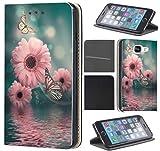 CoverFix Premium Hülle für Samsung Galaxy J5 (Modell 2017) J530F Flip Cover Schutzhülle Kunstleder Flip Case Motiv (1294 Blumen Schmetterlinge Rosa Blau)
