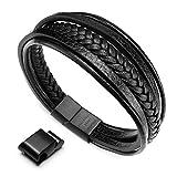 murtoo Herren Armband Edelstahl Echtleder Armband schwarz|braun geflochten mit Magnet Verschluss(22cm) (schwarz)