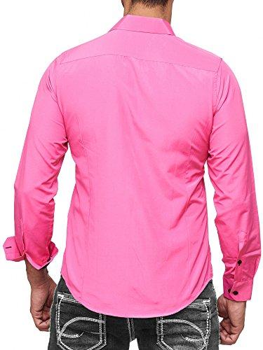 Rusty Neal Herren-Hemd - Slim Fit - Bügelfrei/Bügelleicht - für Business Freizeit Hochzeit Pink