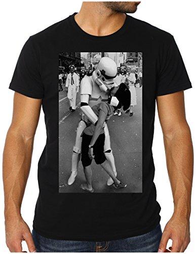 Preisvergleich Produktbild OM3 - STORMTROOPER TRUE LOVE - Slim Fit Herren T-Shirt (TAILLIERT!!!), L, schwarz