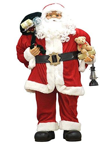 Weihnachtsmann Figur groß Weihnachten Deko Santa Claus mit Bart, Brille, Mütze, Teddy und Geschenken (80 cm, rot)