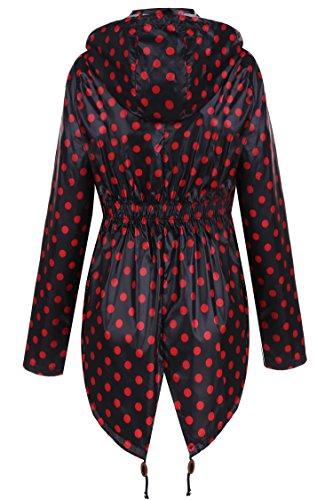 CRAVOG Mode Femme Imperméable A Capuche Imprimé Points Manteau De Pluie Femme Jacket Longue Raincoat Queue De Poisson Noir et rouge