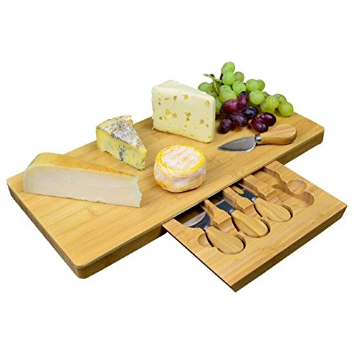 Tabla queso extragrande bambú compartimento cuchillos