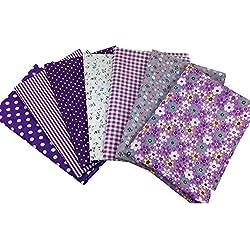 Juego de 7 piezas de tela de algodón, color morado, para costura, para patchwork, costura, acolchado, manualidades, algodón, 2#, 50 * 50cm
