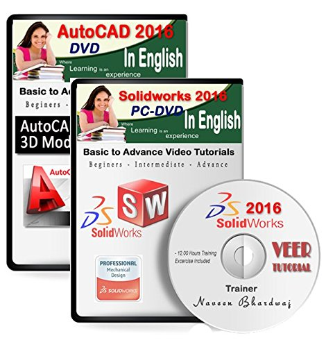 AutoCAD 2016 + Solidworks 2016 Video Training (2 DVDs, 20 Hrs Training) in English