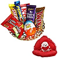 SFU E Com Valentines Day Chocolate Gift | Valentine's Day Gift Combo for Him, Her, Husband, Wife, Loved Ones, Girl Friend | Valentine Bear in Heart Teddy Bear | Valentine Chocolate Hamper | 1039